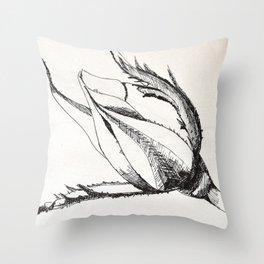 rosebud drawing Throw Pillow