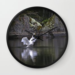Welcome Spring White Swan On A Dark Nature Background #decor #society6 #buyart Wall Clock