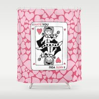 poker Shower Curtains featuring I Hate You / Poker by Etiquette