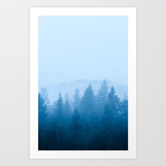 Fog over forest Art Print