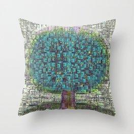 Tree Town - Magical Retro Futuristic Landscape Throw Pillow