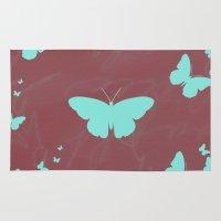 butterflies Area & Throw Rugs featuring Butterflies by Yasmina Baggili