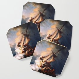 The Storm On The Sea Of Galilee Painting By Rembrandt Coaster