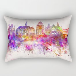 Cluj-Napoca skyline in watercolor background Rectangular Pillow