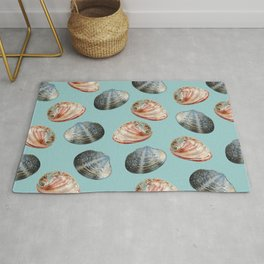 two different clams-shells on blue Background Rug