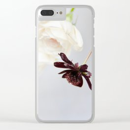 white roses and chocolate cosmos Clear iPhone Case