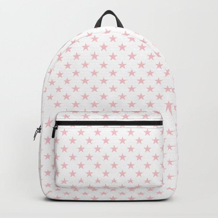 Millennial Pink Pastel Stars on White Rucksack