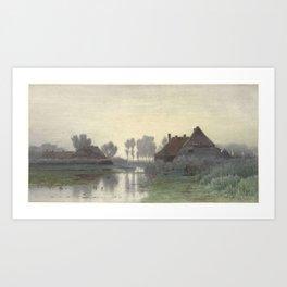 Boer Homes on the Water in morning mist, Paul Joseph Constantin Gabriel, 1838 - 1903 Art Print