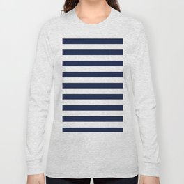 Nautical Navy Blue and White Stripes Long Sleeve T-shirt