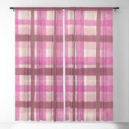 Tissue Paper Plaid - Pink Sheer Curtain