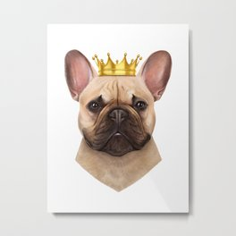French bulldog with crown Metal Print