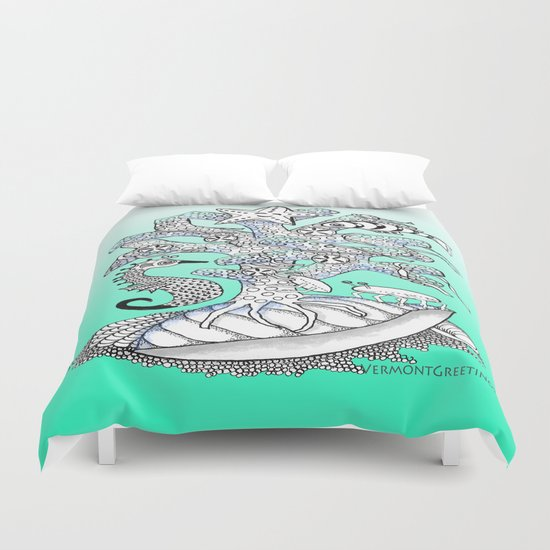 Zentangle Seahorse, Coral, Starfish Undersea Illustration Duvet Cover