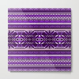 fair isle star in purple Metal Print