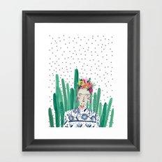Frida Kahlo. Art, print, illustration, flowers, floral, character, design, famous, people, Framed Art Print