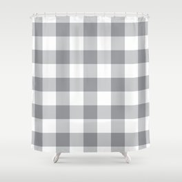 Grey Gingham Pattern Shower Curtain