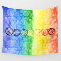 om Wall Tapestries featuring OM by Sara Eshak