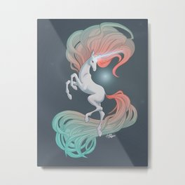 Unicorn in the Ether Metal Print