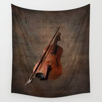 violin Wall Tapestries featuring Painting Vintage Violin by Simone Gatterwe