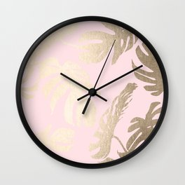 Simply Tropical Palm Leaves White Gold Sands on Flamingo Pink Wall Clock