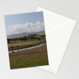 Omo Valley Creek Horses Mountains Landscape Ethiopia Africa Stationery Cards