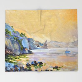 Lonely sailer Throw Blanket