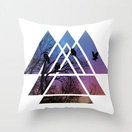 Night Wisdom - Sacred Geometry Triangels Throw Pillow