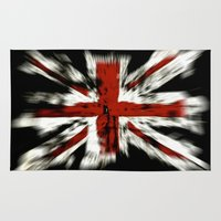 uk Area & Throw Rugs featuring UK Flag by WonderfulDreamPicture