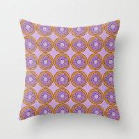 doughnut Throw Pillows featuring doughnut by AWOwens