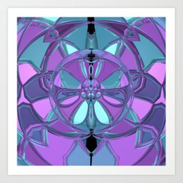 Purple and green abstract alien Art Print