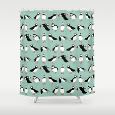 just puffins Shower Curtain
