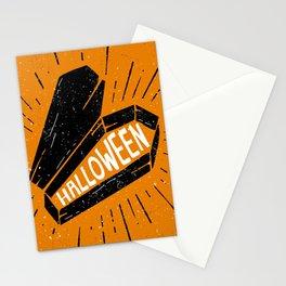 Halloween Coffin (Orange) Stationery Cards