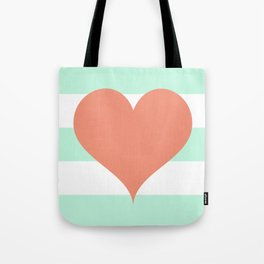 Large Heart on Stripes in Coral and Mint Tote Bag