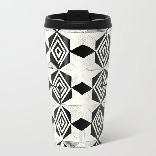 Tribal Shibori Stars Black and Cream Metal Travel Mug