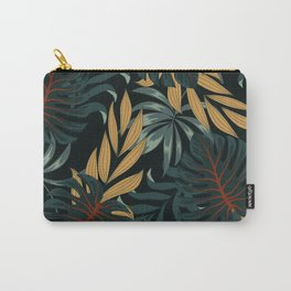 Original seamless tropical pattern with bright plants and leaves on a black background. Seamless pattern with colorful leaves and plants. Trendy summer Hawaii print. Carry-All Pouch