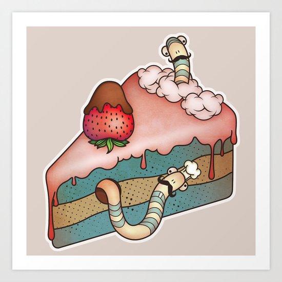 SWEET WORMS 3 - strawberry cake Art Print