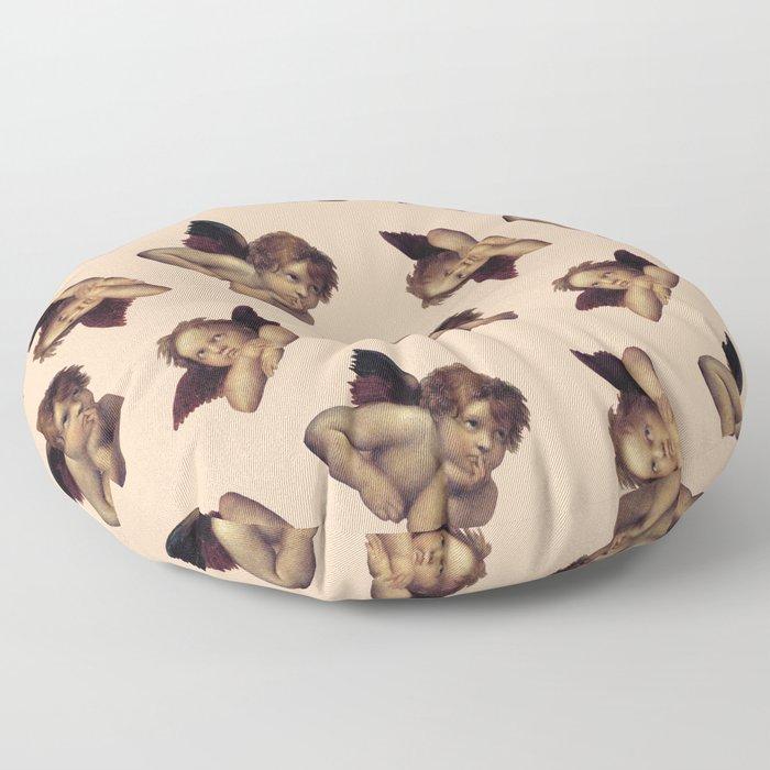 Classical Cherub Toss in Peach Fresco Floor Pillow