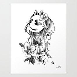 Smoking Kitsune Art Print