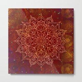 Rust Red Mandala Metal Print