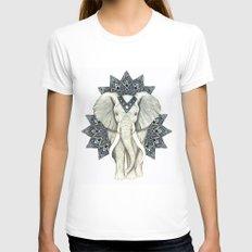 Zen Elephant Mandala Womens Fitted Tee X-LARGE White