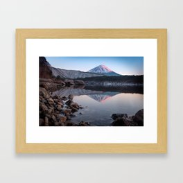 Mt. Fuji with a Touch of Rose Framed Art Print