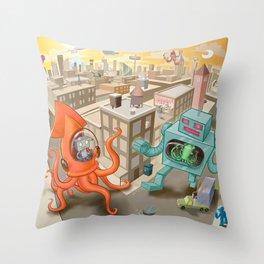 Squid vs Robot Throw Pillow