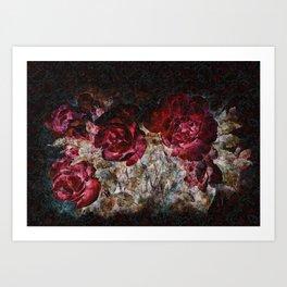 Red roses grunge Art Print
