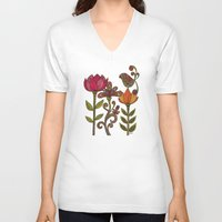 valentina V-neck T-shirts featuring In the garden by Valentina Harper