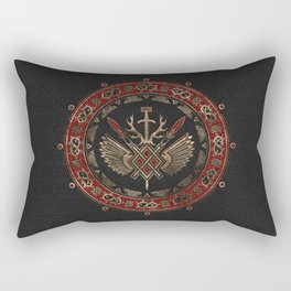 Gungnir - Spear of Odin Black and Red Leather and gold Rectangular Pillow