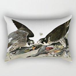 Peregrine Falcons Drawn - John James Audubon Rectangular Pillow