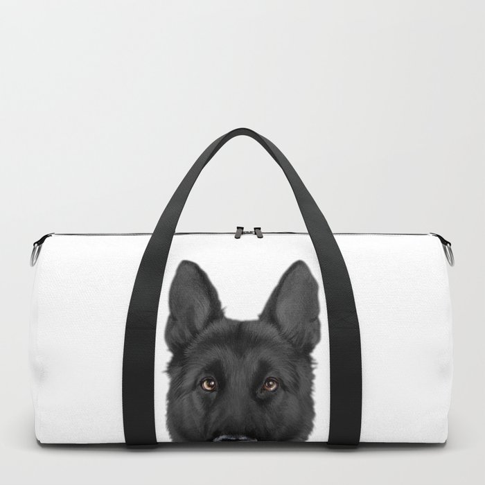 Black German Shepherd, Original painting by miart Duffle Bag