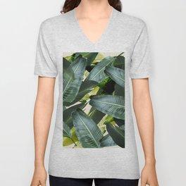 Tropical palm leaf, retro Unisex V-Neck