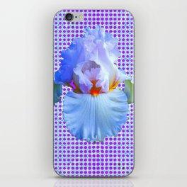 AWESOME BLUISH-WHITE PASTEL IRIS OPTICAL ART iPhone Skin