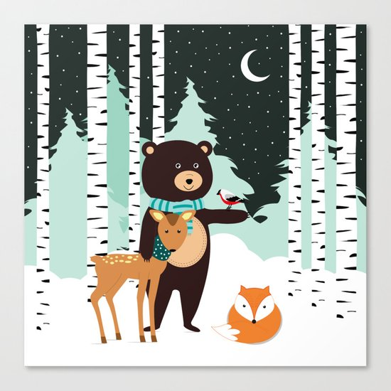 Friends in winter Canvas Print