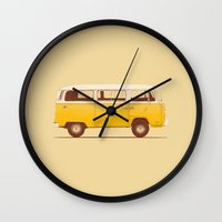 movie Wall Clocks featuring Yellow Van by Florent Bodart / Speakerine
